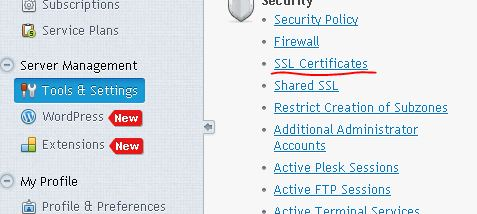 Phan tools chon SSl certificates Plesk 12