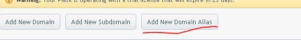 chon add new domain alias Plesk 12