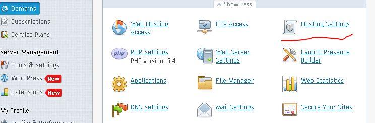 chon vao hosting de fowing web Plesk 12