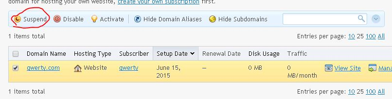 supend domain Plesk 12