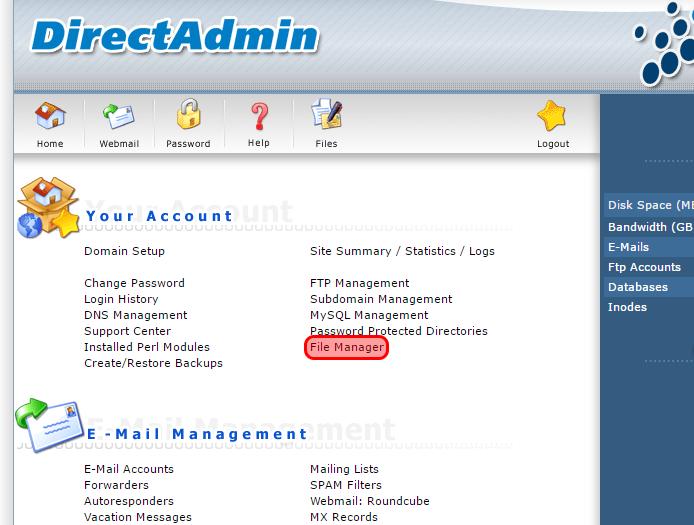 Quản lý file và thư mục trên DirectAdmin 1