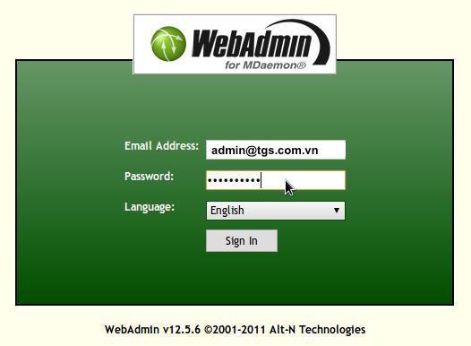 login page webmail admin
