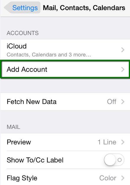 thiết lập tài khoản Email trên iPhone 2